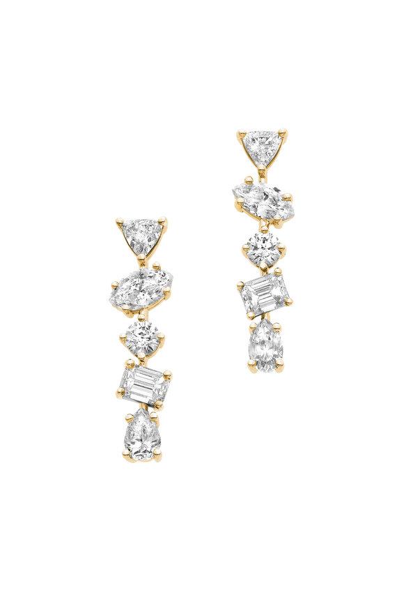 Kimberly McDonald 18K Yellow Gold Irregular Diamond Bar Earrings