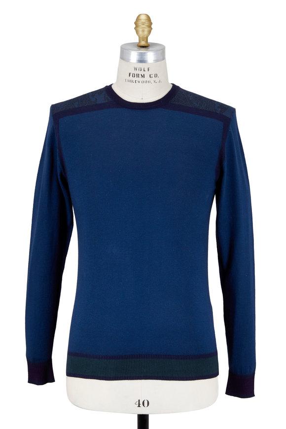 Etro Blue Contrast Shoulder Detail Sweater