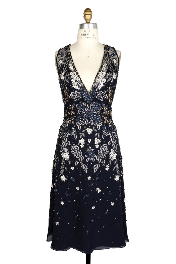 Jenny Packham Navy Blue Floral Beaded Sleeveless Dress