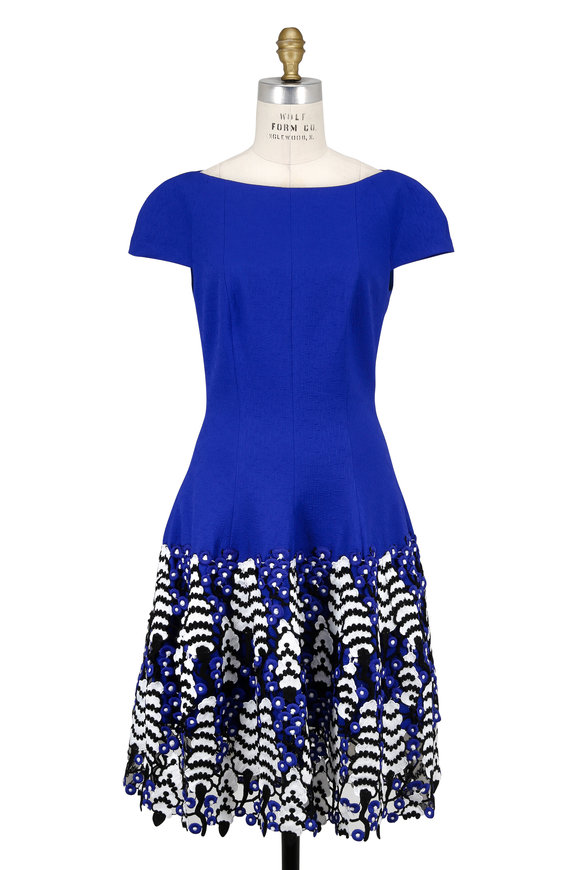 Talbot Runhof Kovalic Royal Blue Guipure Lace Cap Sleeve Dress