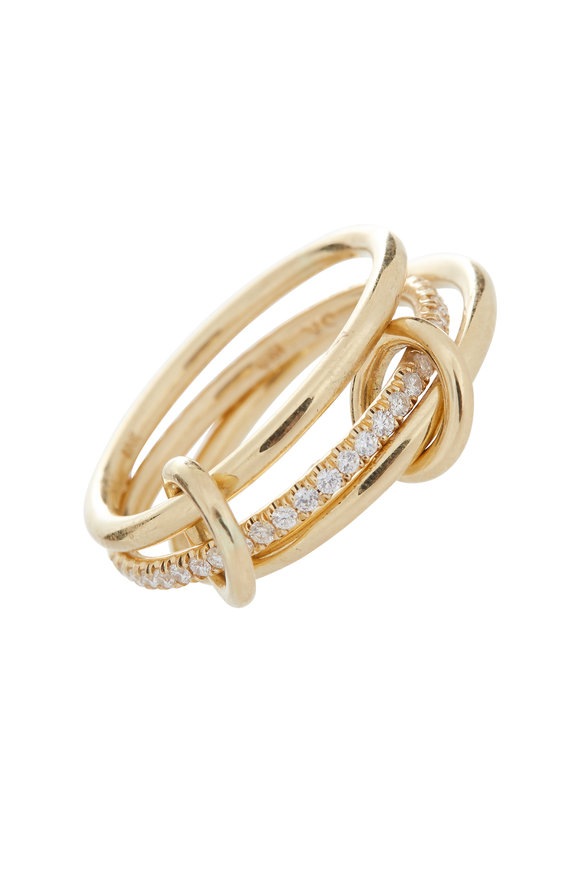 Spinelli Kilcollin 18K Yellow Gold Diamond Three Link Ring