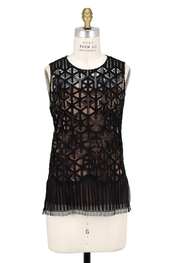 Akris Black Geometric Lace Sleeveless Blouse