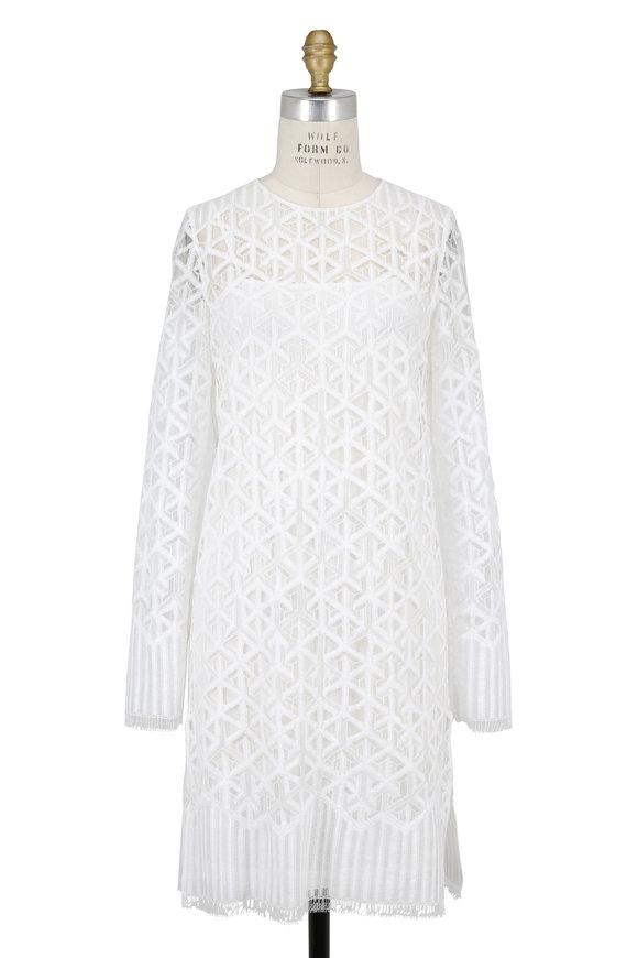 Akris White Lace Long Sleeve Dress