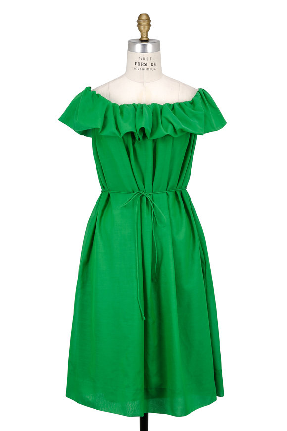 Paule Ka Apple Green Off-The-Shoulder Tie Waist Dress