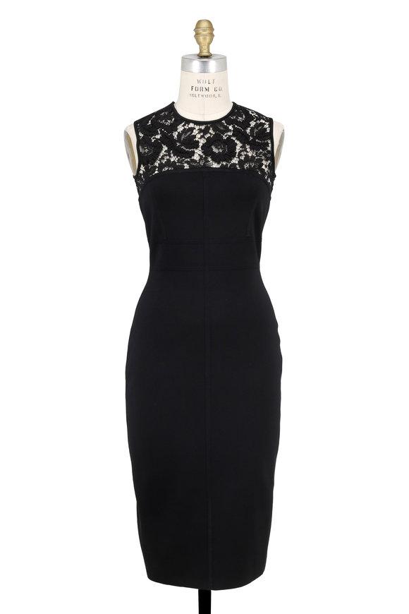 Valentino Black Floral Lace Detail Sleeveless Dress