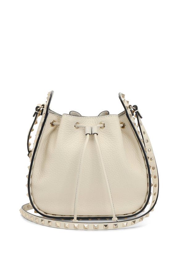 Valentino Rockstud Ivory Leather Bucket Bag