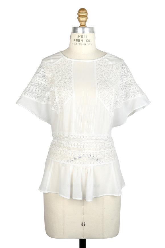 IRO Tamya White Lace Inset Cap Sleeve Blouse
