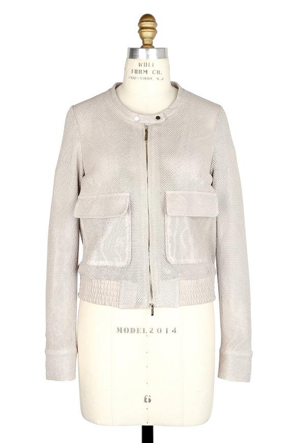 Kiton Beige Open Weave Leather Moto Jacket