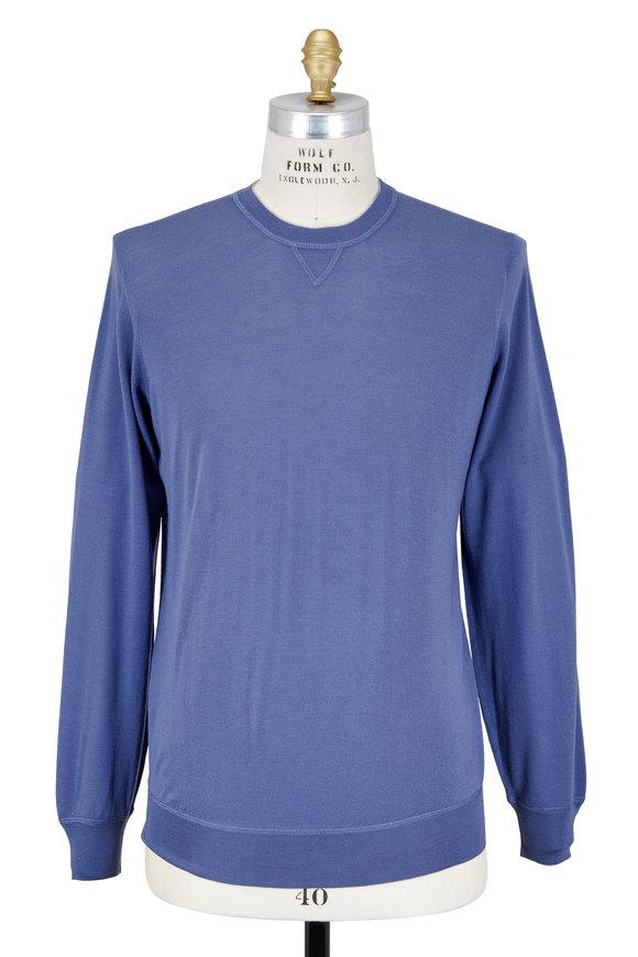 Brunello Cucinelli Indigo Wool & Cashmere Crewneck Sweater