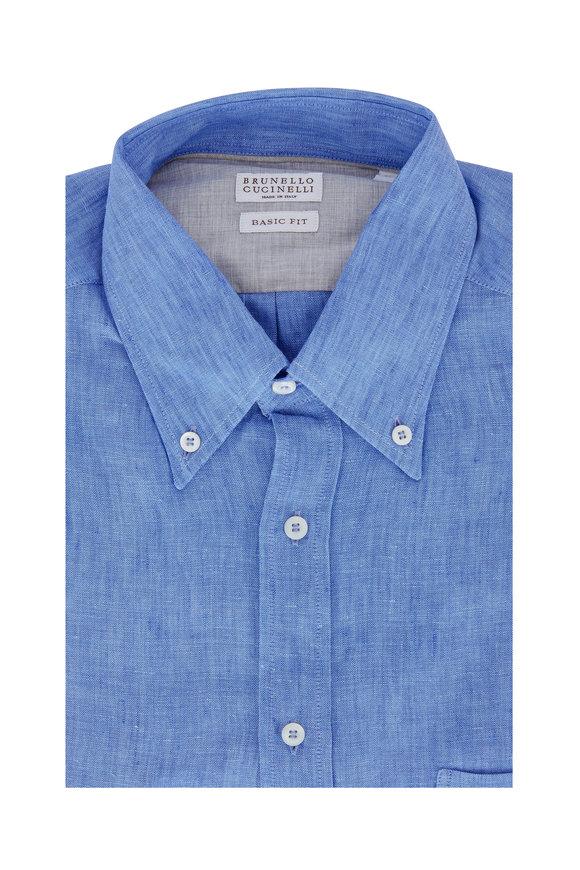 Brunello Cucinelli Medium Blue Linen Basic Fit Sport Shirt