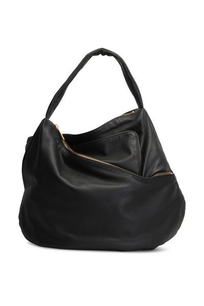 Lupo - Metropolis Black Leather Hobo Bag