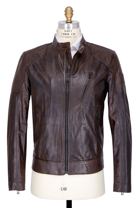 Belstaff Moreland Black & Brown Leather Moto Jacket