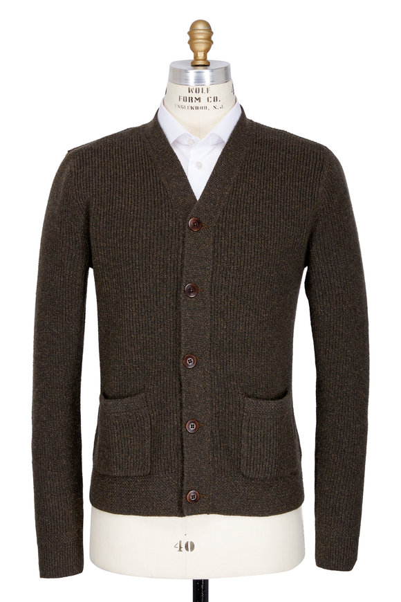 RRL Military Green Ribbed Cashmere Button Cardigan