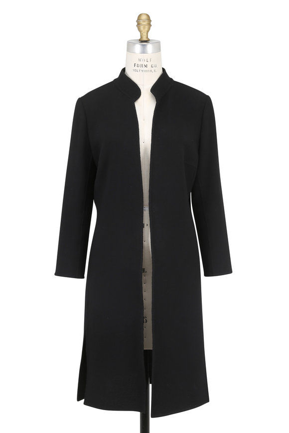Olivine Gabbro Corto Black Double-Faced Wool Coat