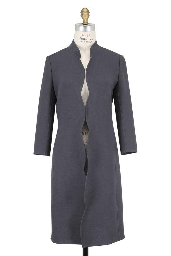 Olivine Gabbro Corto Storm Blue Double-Faced Wool Coat