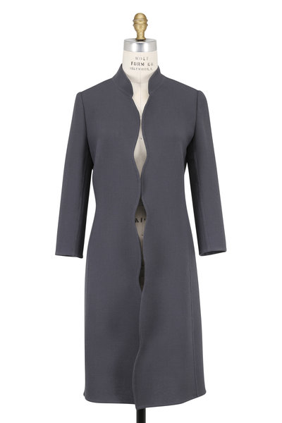 Olivine Gabbro - Corto Storm Blue Double-Faced Wool Coat