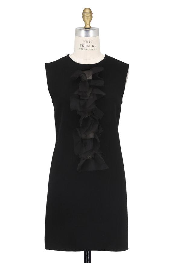 Olivine Gabbro Black Double-Faced Wool & Organza Ruffle Dress