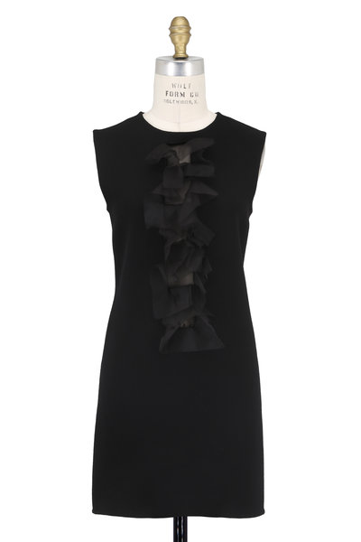 Olivine Gabbro - Black Double-Faced Wool & Organza Ruffle Dress