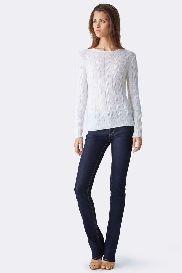 Ralph Lauren Luxe White Cable Knit Cashmere Sweater