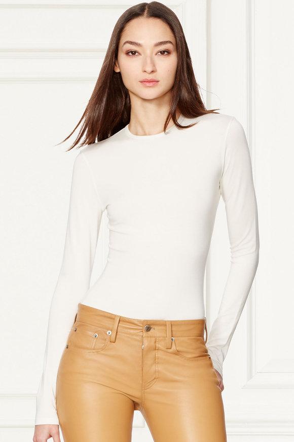 Ralph Lauren Silk Cream Long Sleeve Crewneck T-Shirt
