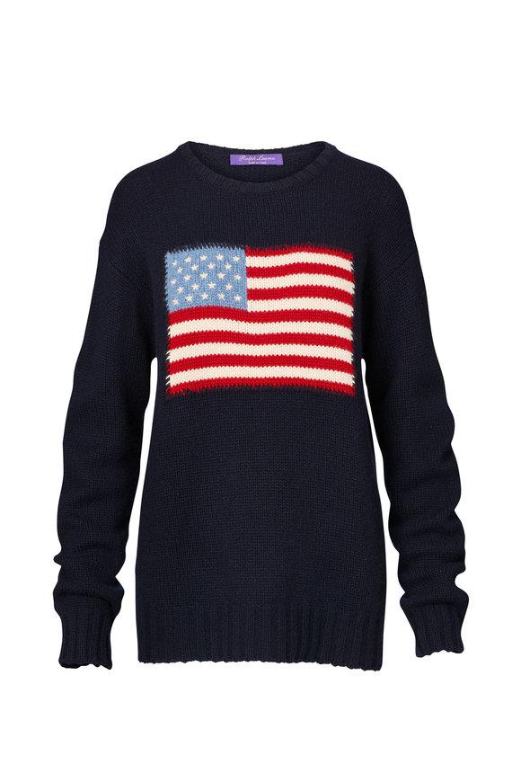 Ralph Lauren Midnight American Flag Cashmere Crewneck Sweater