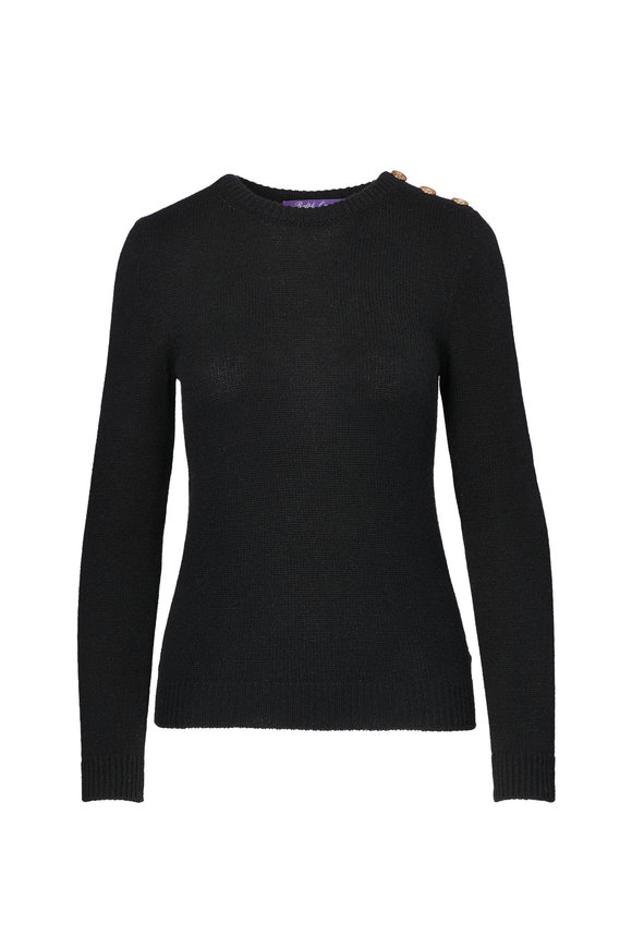 Ralph Lauren Black Cashmere Button Shoulder Sweater