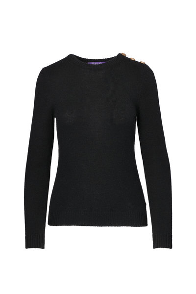 Ralph Lauren - Black Cashmere Button Shoulder Sweater
