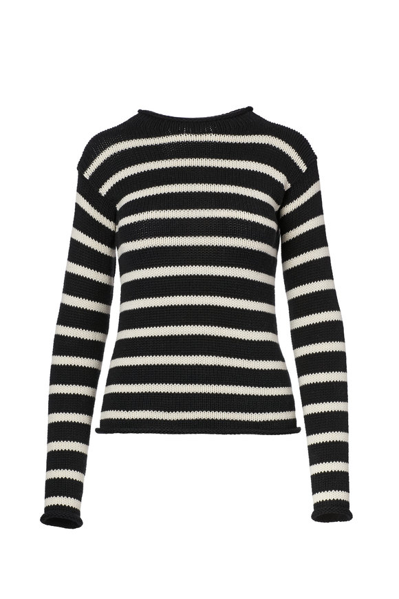 Ralph Lauren Black & Cream Striped Rollneck Sweater
