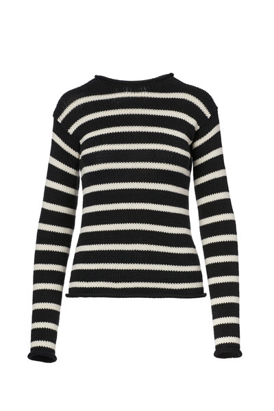 Ralph Lauren - Black & Cream Striped Rollneck Sweater