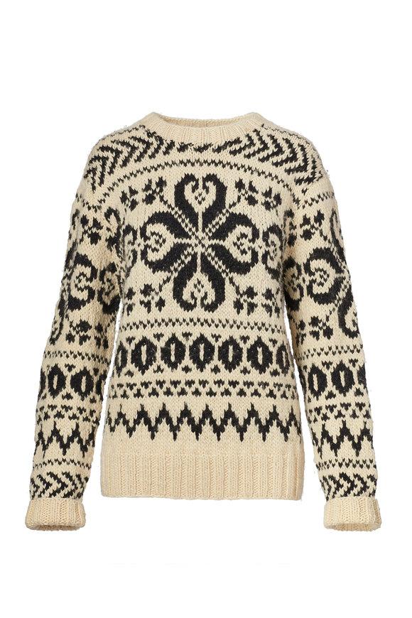Ralph Lauren Cream & Black Cashmere Jacquard Sweater