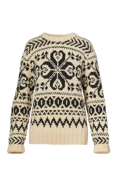 Ralph Lauren - Cream & Black Cashmere Jacquard Sweater
