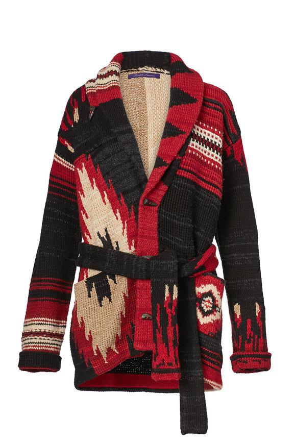 Ralph Lauren Red, Black & Cream Cashmere Patchwork Cardigan