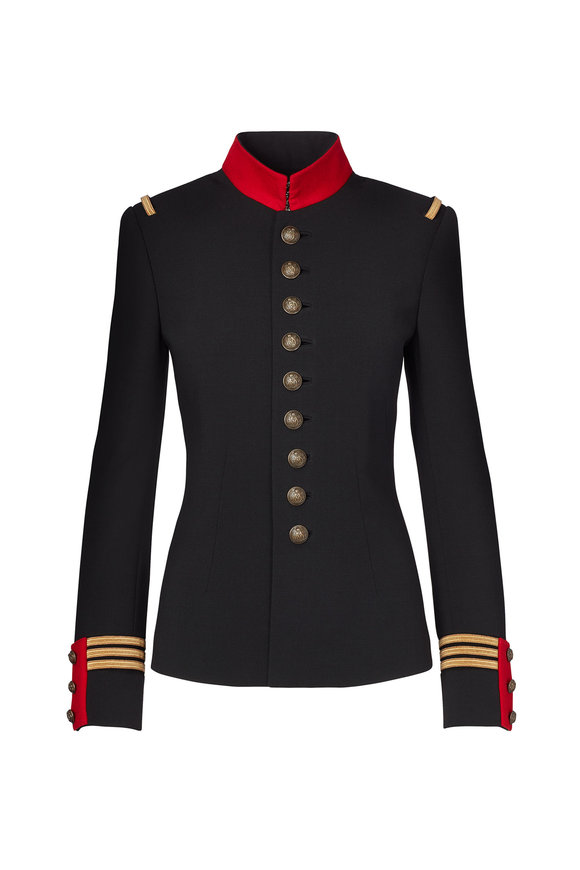 Ralph Lauren The Officer's Black Stretch Wool Jacket