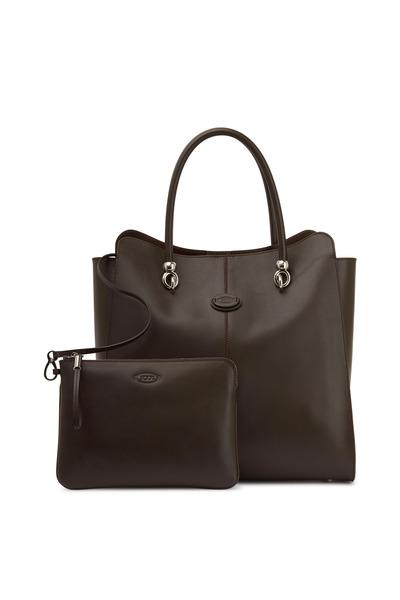 Tod's - Sella Dark Brown Leather Shopper