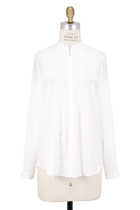 Bogner Avena Ivory Silk Pleated Front Blouse