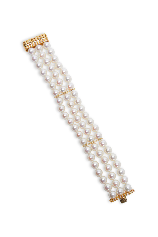 Yellow Gold Cultured Pearl Diamond Bracelet