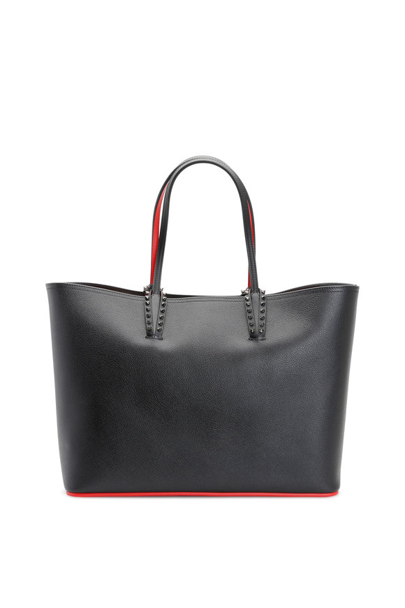Christian Louboutin Cabata Black & Red Leather Studded Tote