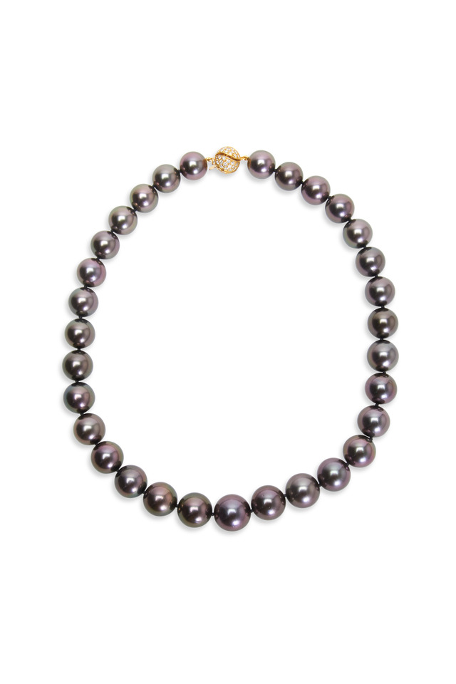 Yellow Gold Natural Tahitian Pearl Necklace