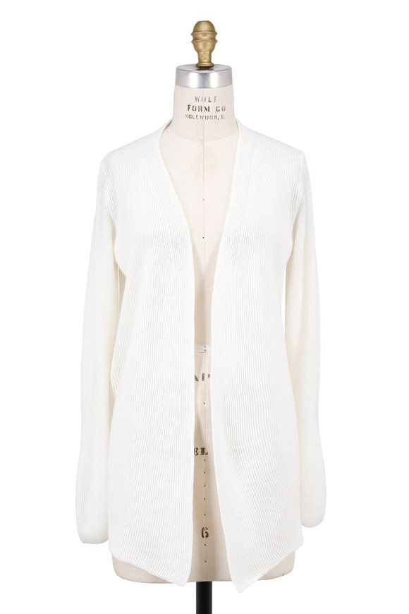 Bogner Pollie Ivory Mixed Knit Open Cardigan