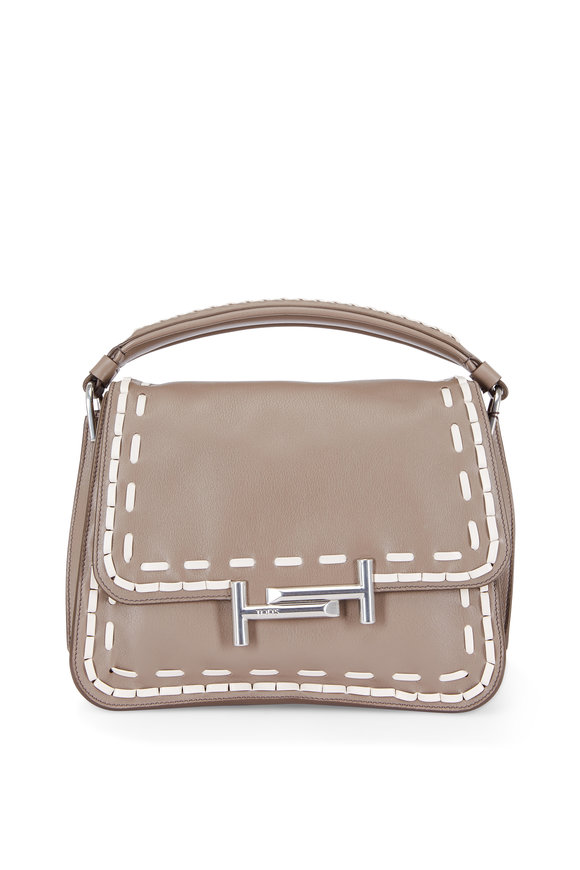 Tod's Double T Taupe & Cream Stitched Top Handle Bag