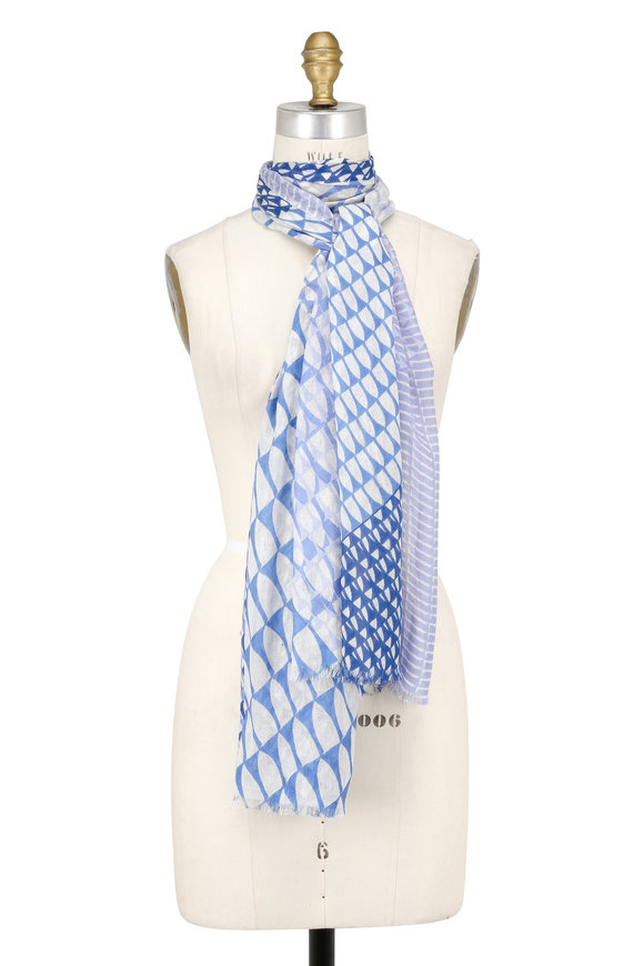 Kinross Bluewash Cashmere & Silk Wave-Geo Printed Scarf
