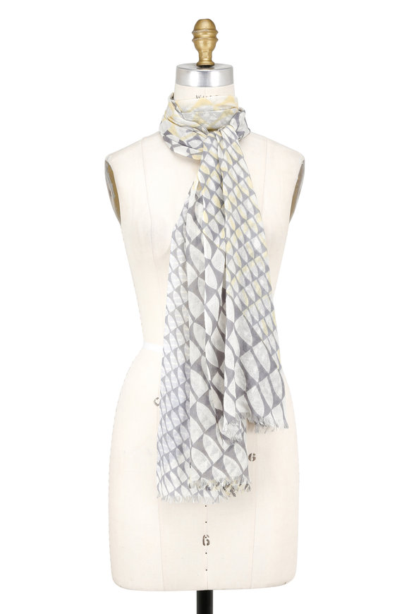 Kinross Yellow Cashmere & Silk Wave-Geo Printed Scarf