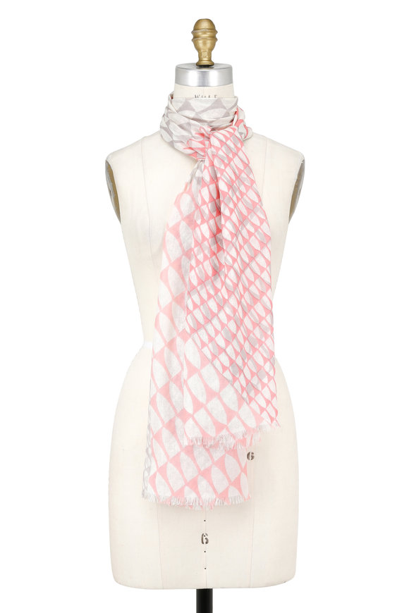 Kinross Pink Cashmere & Silk Wave-Geo Printed Scarf
