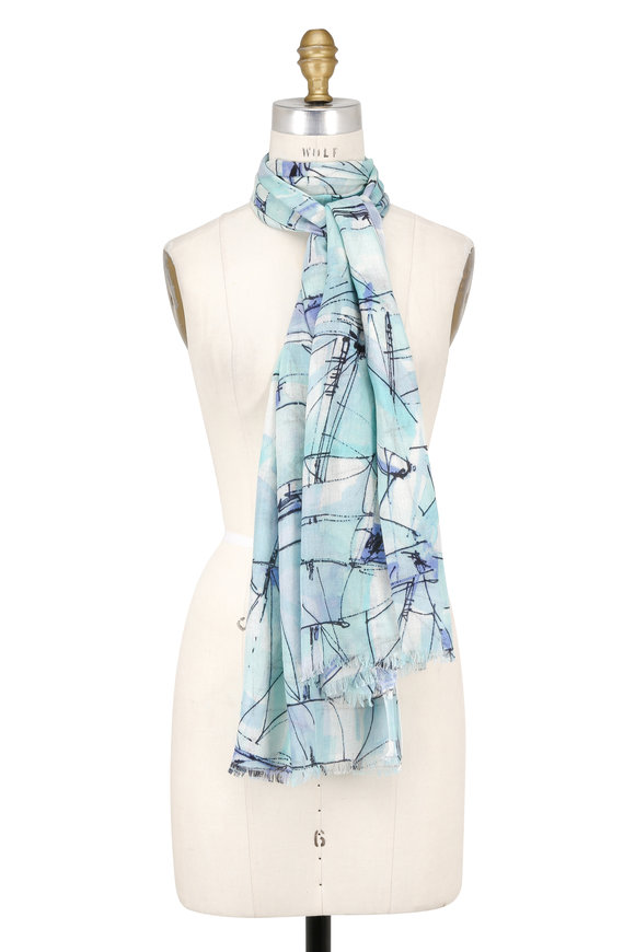 Kinross Aqua Cashmere & Silk Abstract Sail Printed Scarf