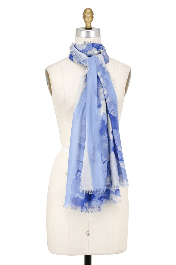 Kinross Bluewash Cashmere & Silk Brushwork Printed Scarf