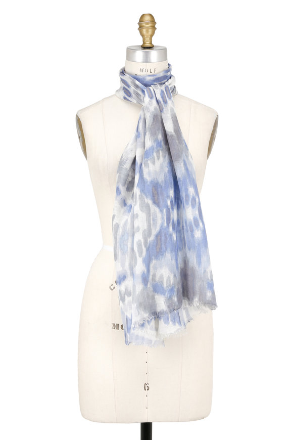 Kinross Bluewash Linen Blend Summer Ikat Printed Scarf