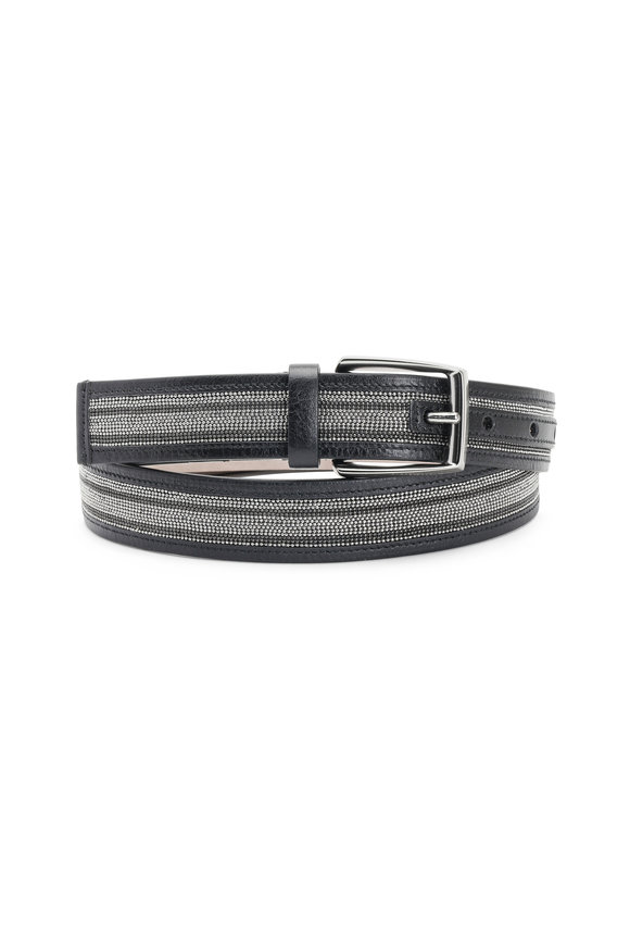 Brunello Cucinelli Black & Silver Striped Monili Belt