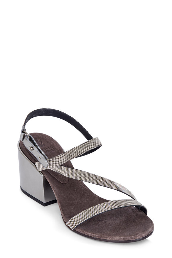 Brunello Cucinelli Silver Monili Strappy City Sandal, 75mm