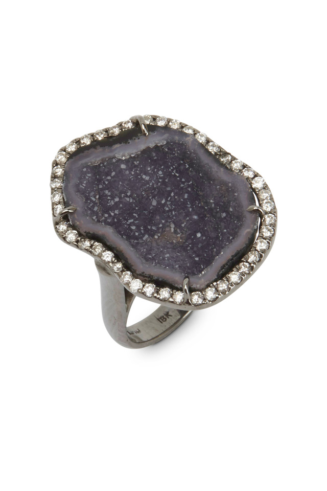 White Gold Dark Geode White Diamond Ring