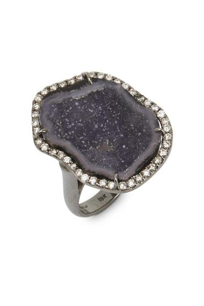 Kimberly McDonald - White Gold Dark Geode White Diamond Ring